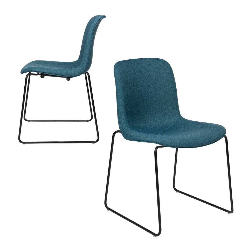 Murray Stackable Side Chairs, Sled Base, Set of 2 (Slate Blue Fabric)