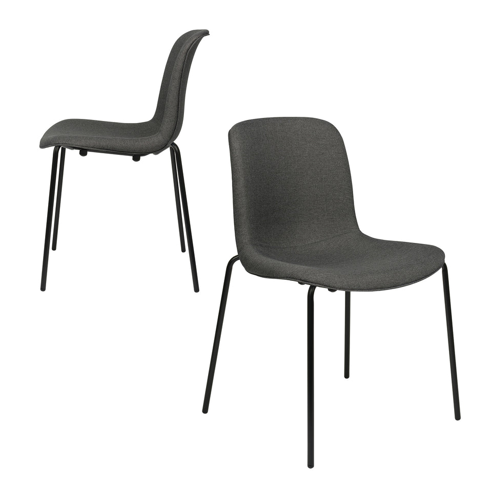 Murray Side Chairs, 4-Leg Base, Set of 2 (Charcoal Fabric)