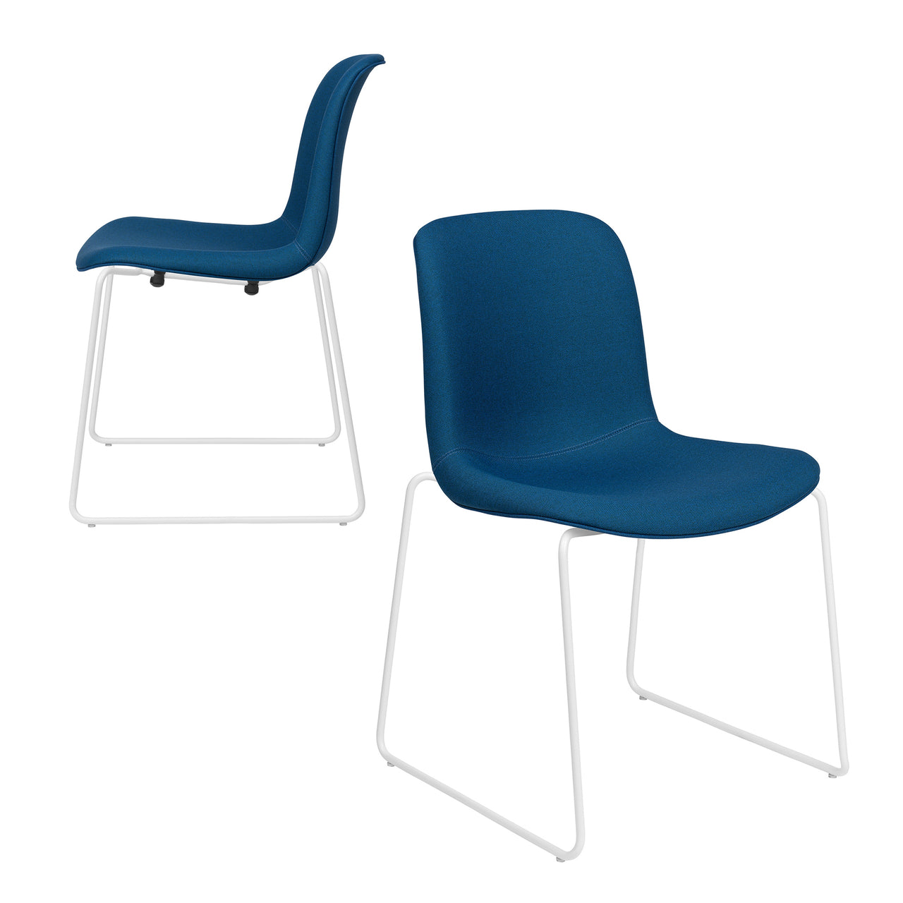 Murray Stackable Side Chairs, Set of 2 (Blue Fabric)