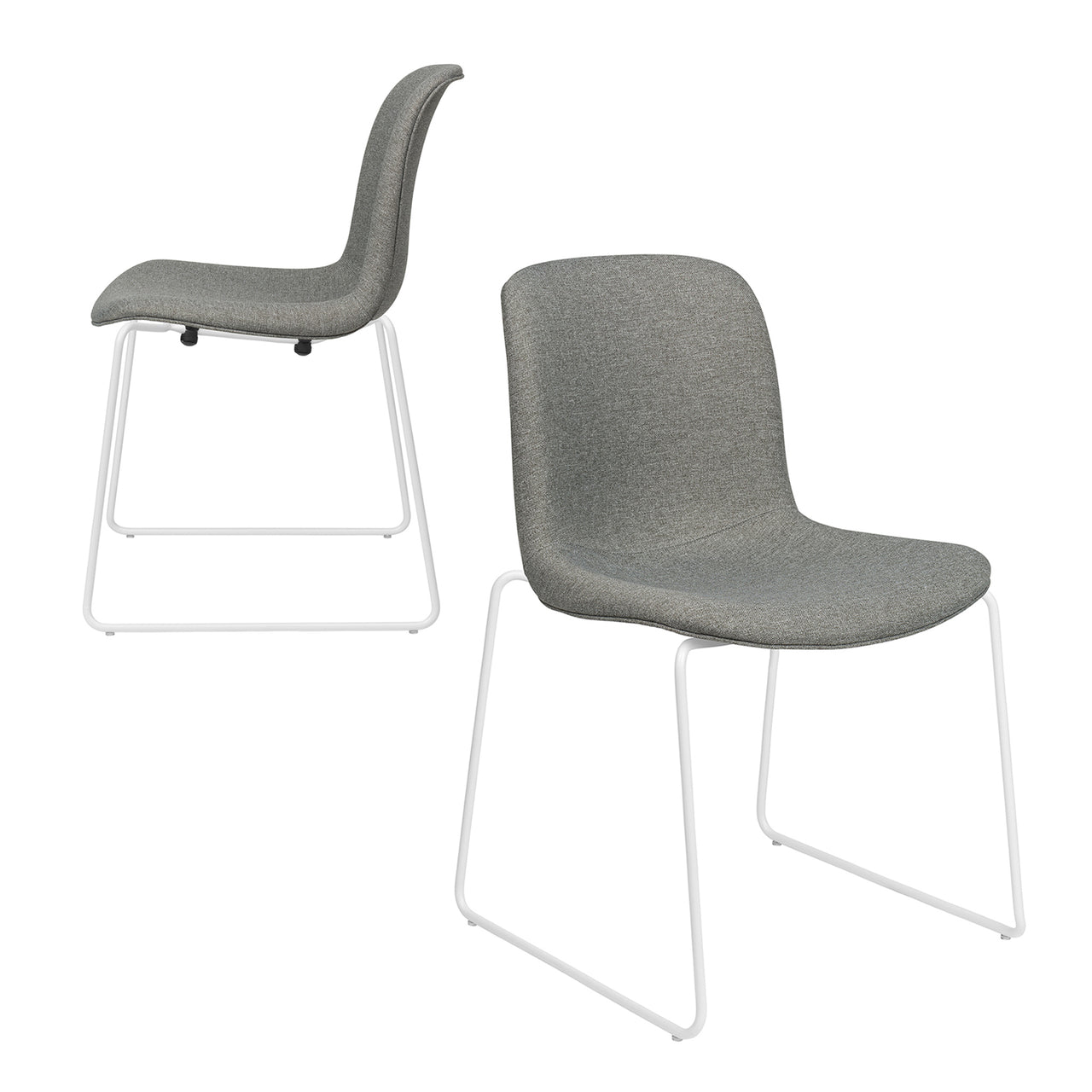 Murray Stackable Side Chairs, Sled Base, Set of 2 (Grey Fabric)