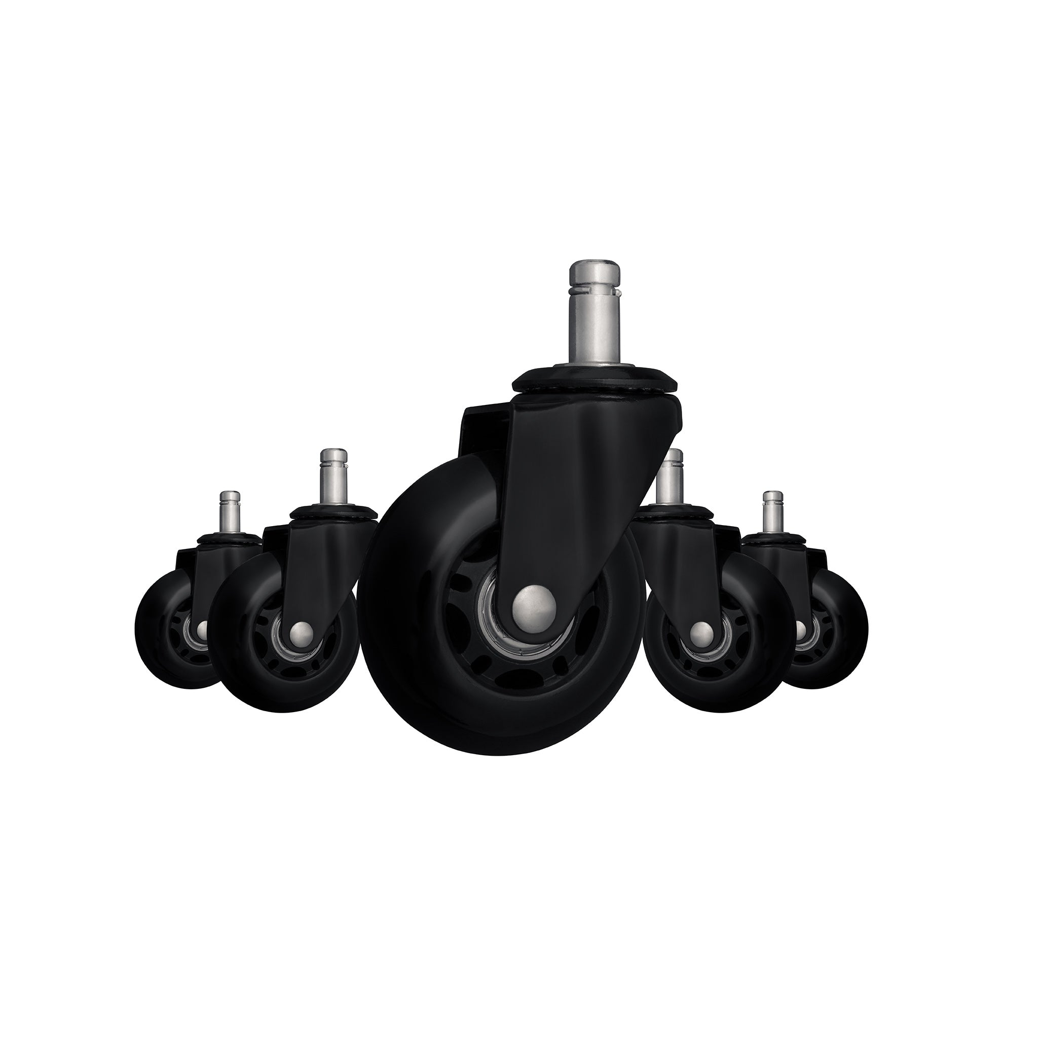 Premium Hardwood Safe Rolling Casters - Black (Set of 5)