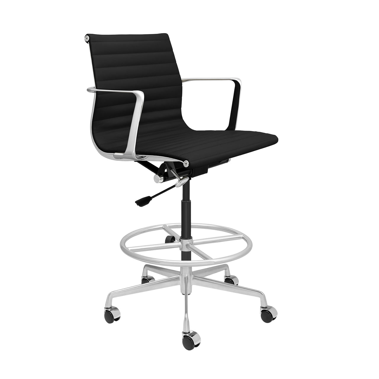 SOHO Pro Ribbed Drafting Chair (Black Italian Leather)