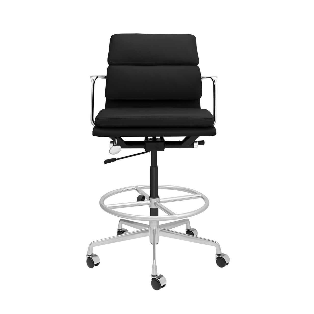 SHIPS MARCH 19TH - SOHO Pro Soft Pad Drafting Chair (Black Italian Leather)