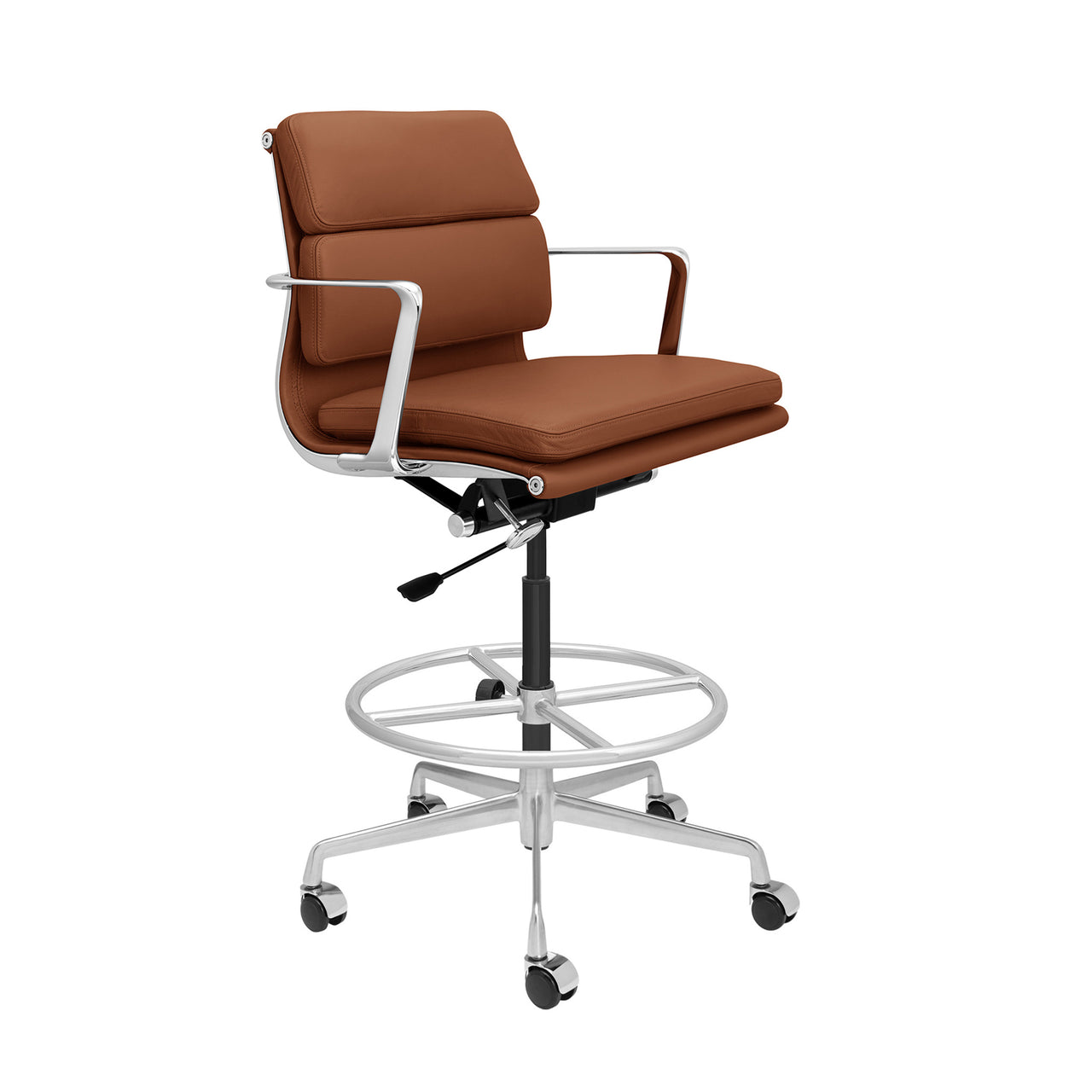 SOHO Pro Soft Pad Drafting Chair (Brown Italian Leather)