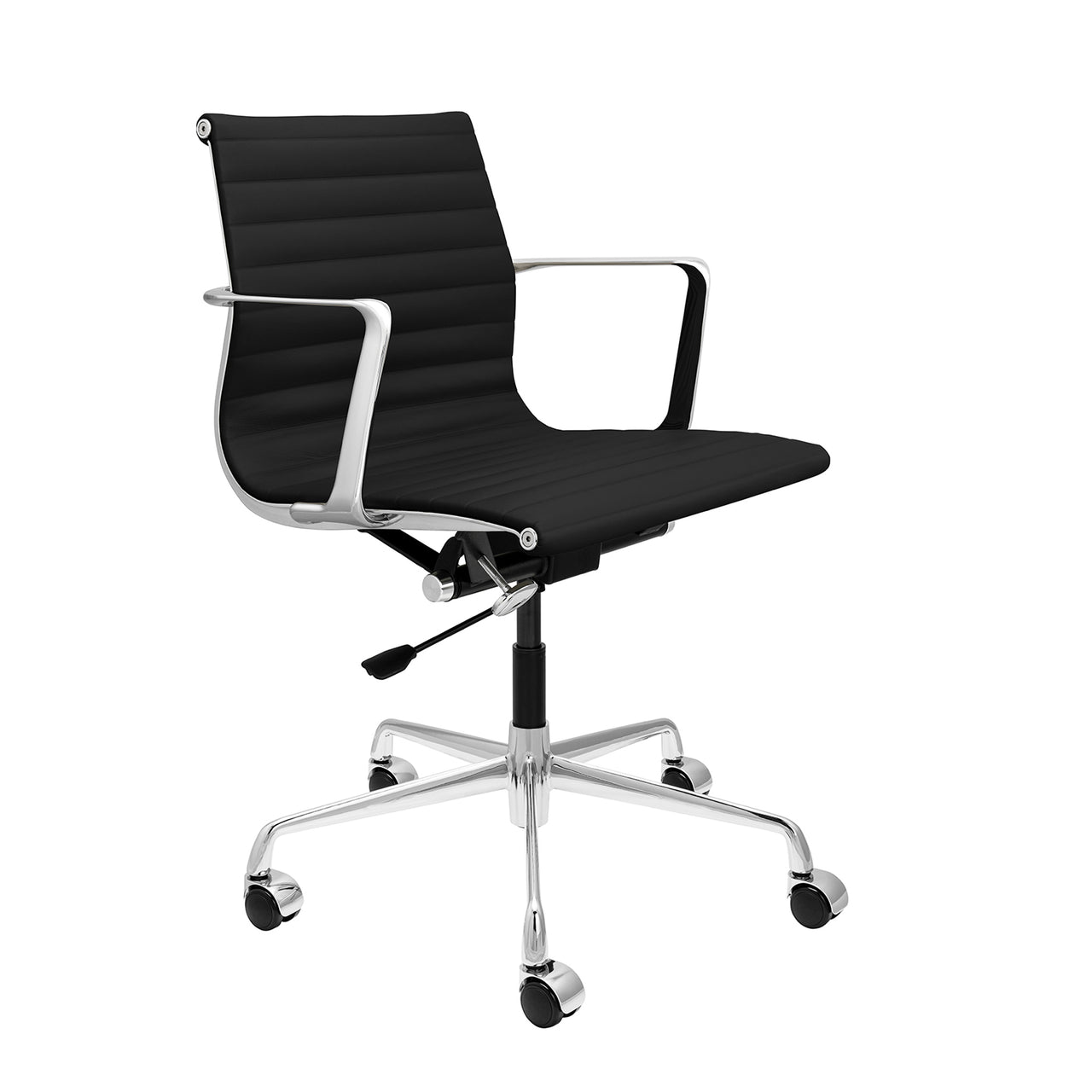 SOHO Pro Ribbed Management Chair (Black Italian Leather)