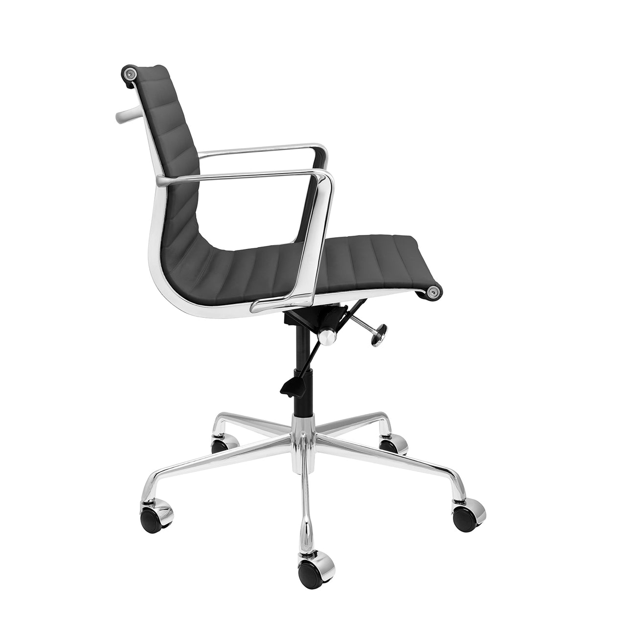 SOHO Pro Ribbed Management Chair (Dark Grey Italian Leather)
