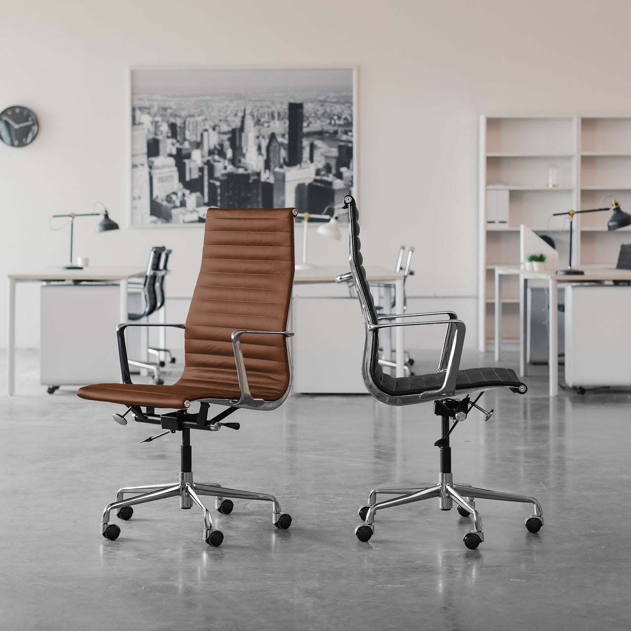 SOHO Pro Tall Back Ribbed Management Chair (White Italian Leather)