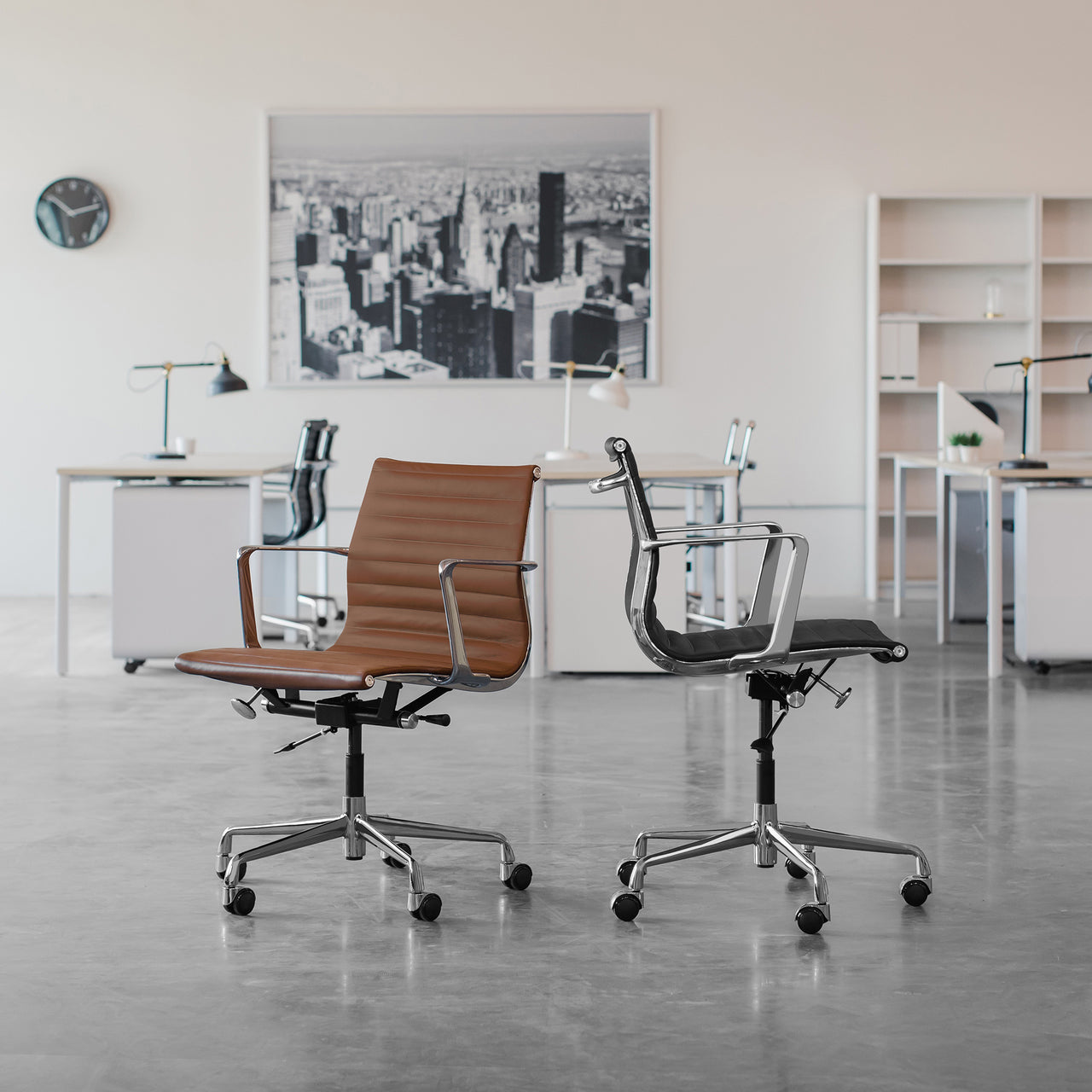 SOHO Pro Ribbed Management Chair (White Italian Leather)