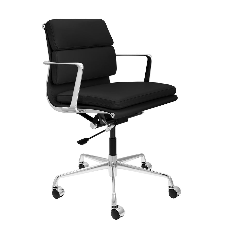 SHIPS MARCH 19TH - SOHO Pro Soft Pad Management Chair (Black Italian Leather)
