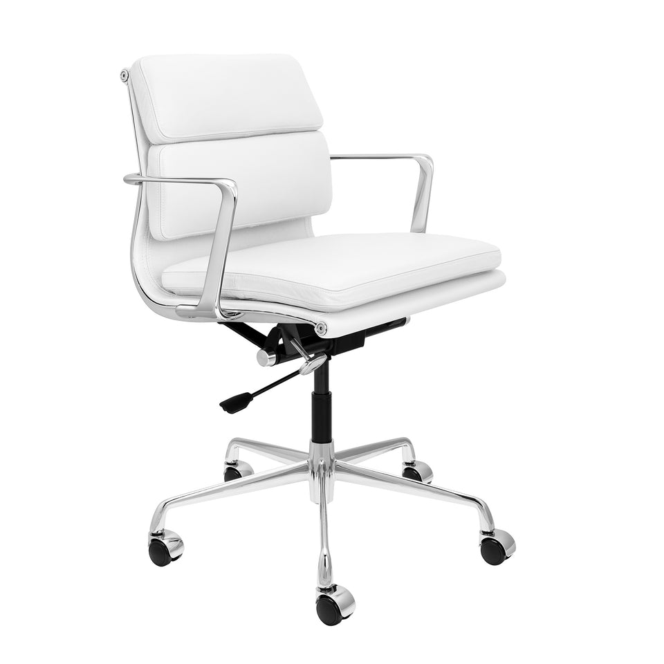 SOHO Pro Soft Pad Management Chair (White Italian Leather)