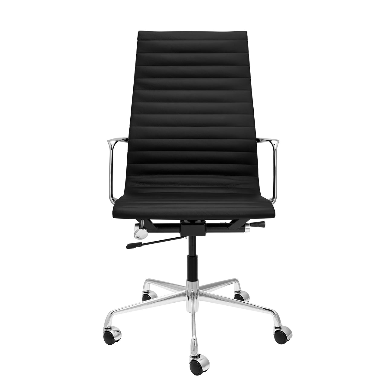 SOHO Pro Tall Back Ribbed Management Chair (Black Italian Leather)