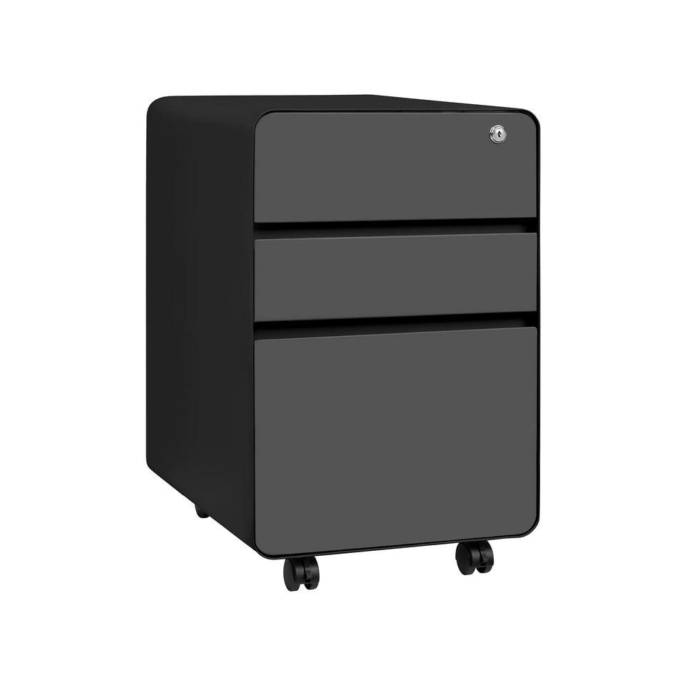 Stockpile Flat 3-Drawer File Cabinet (Black/Grey)