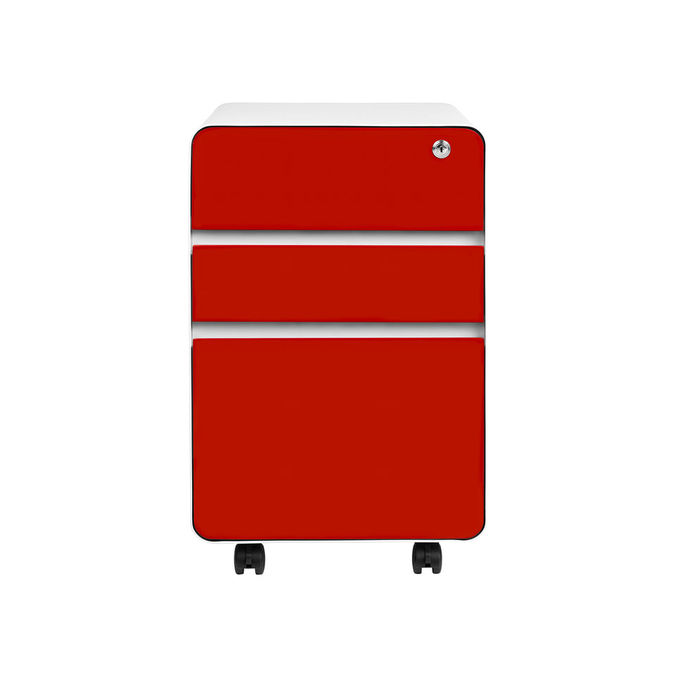 Stockpile Flat 3-Drawer File Cabinet (Red)