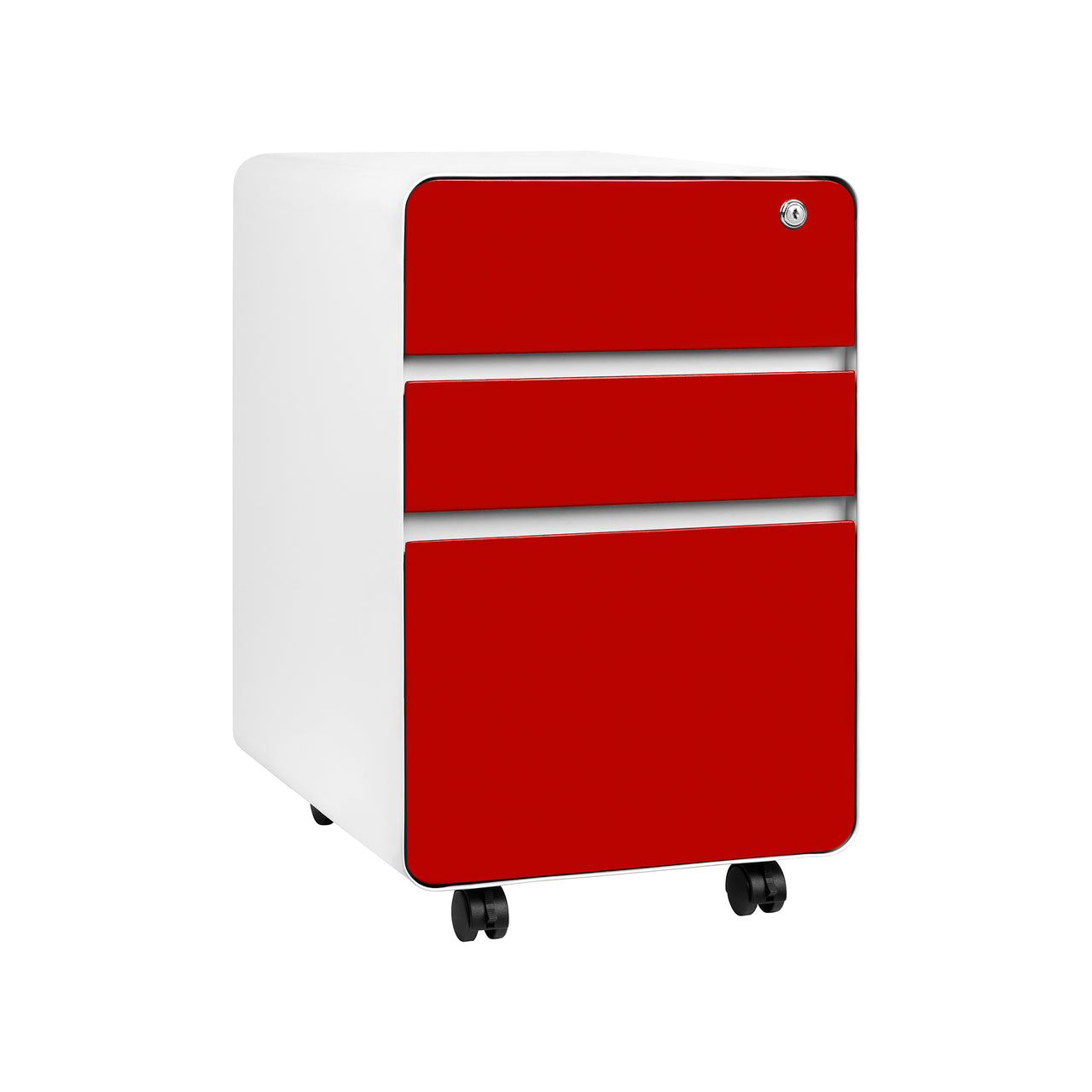 Stockpile Flat 3 Drawer File Cabinet Red