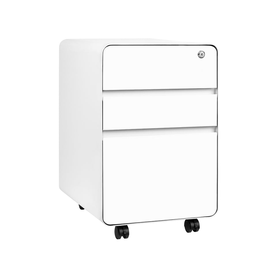 Stockpile Flat 3-Drawer File Cabinet (White)