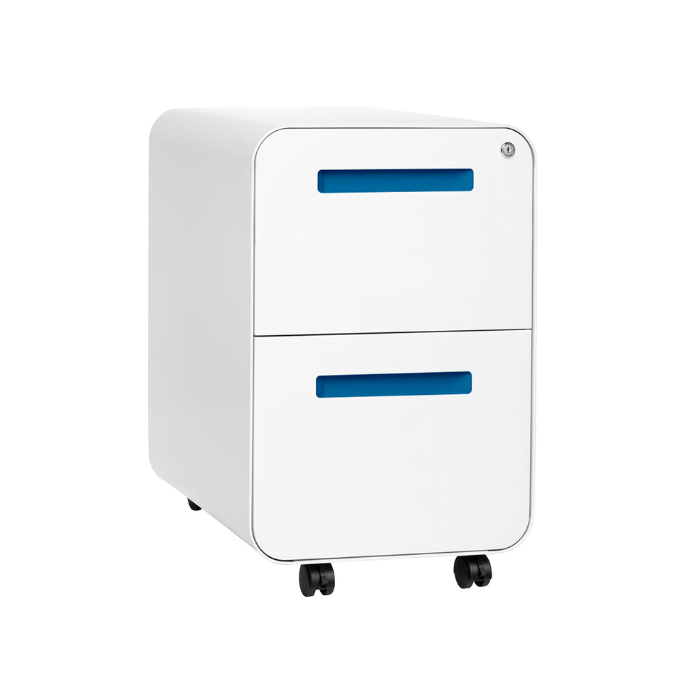 SHIPS APRIL 30TH - Stockpile Curve 2-Drawer File Cabinet (White/Blue)