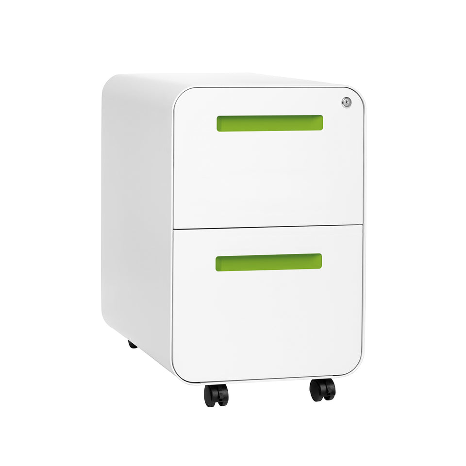 SHIPS APRIL 30TH - Stockpile Curve 2-Drawer File Cabinet (White/Green)