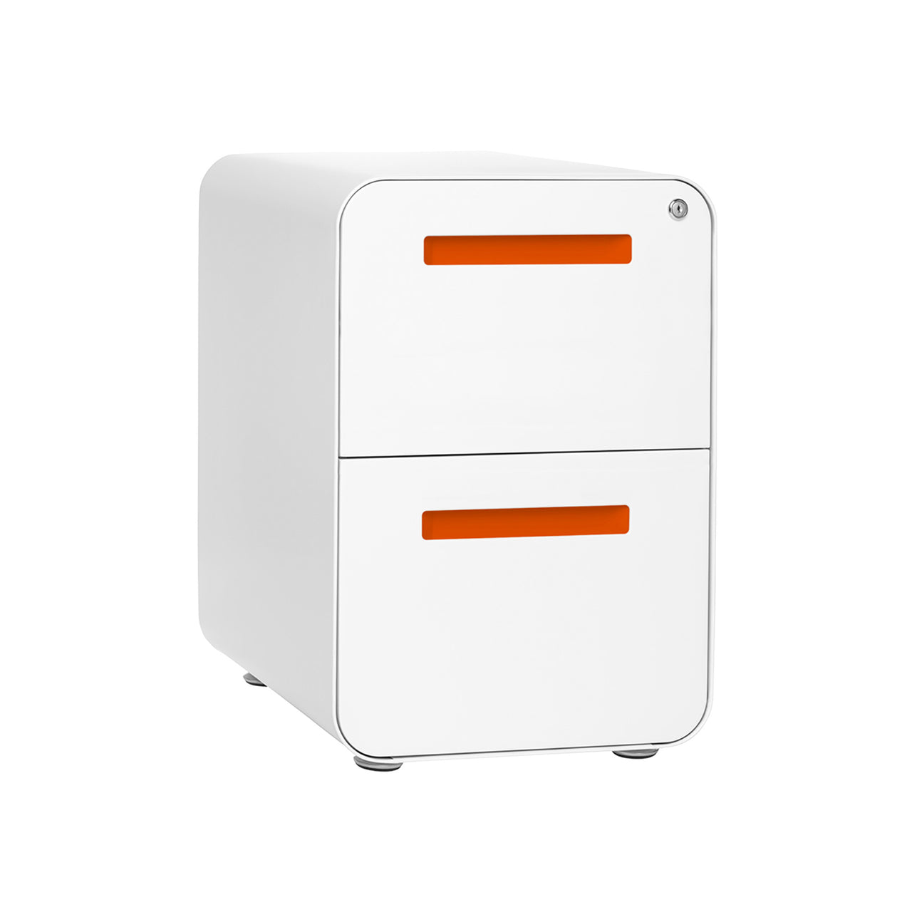 Stockpile Curve 2-Drawer File Cabinet (White/Orange)