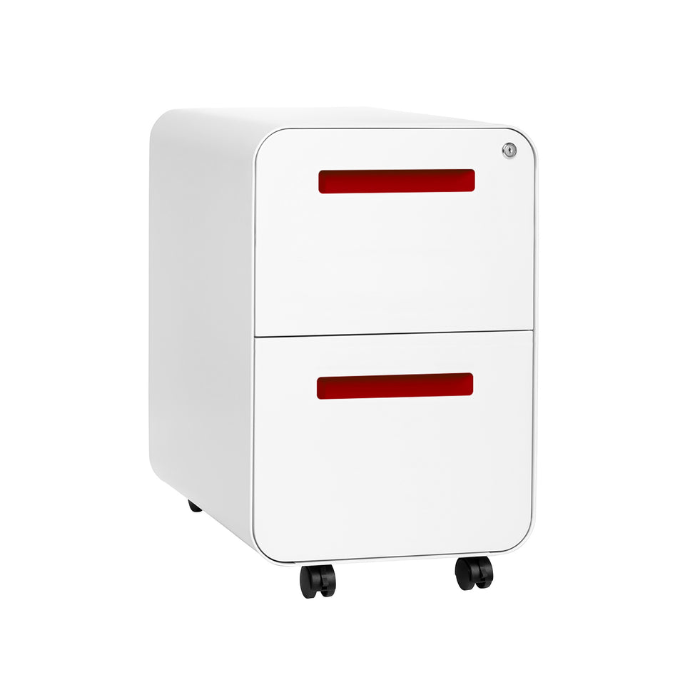 SHIPS JULY 21ST - Stockpile Curve 2-Drawer File Cabinet (White/Red)