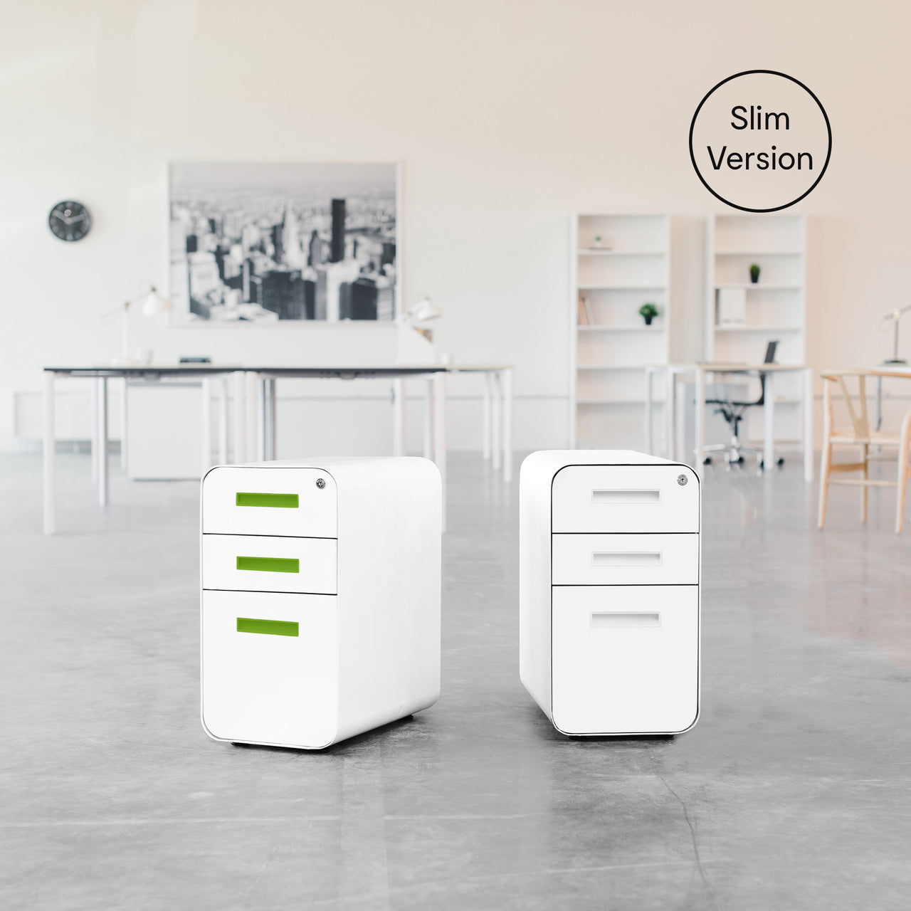 Stockpile Slim File Cabinet (White/Green)