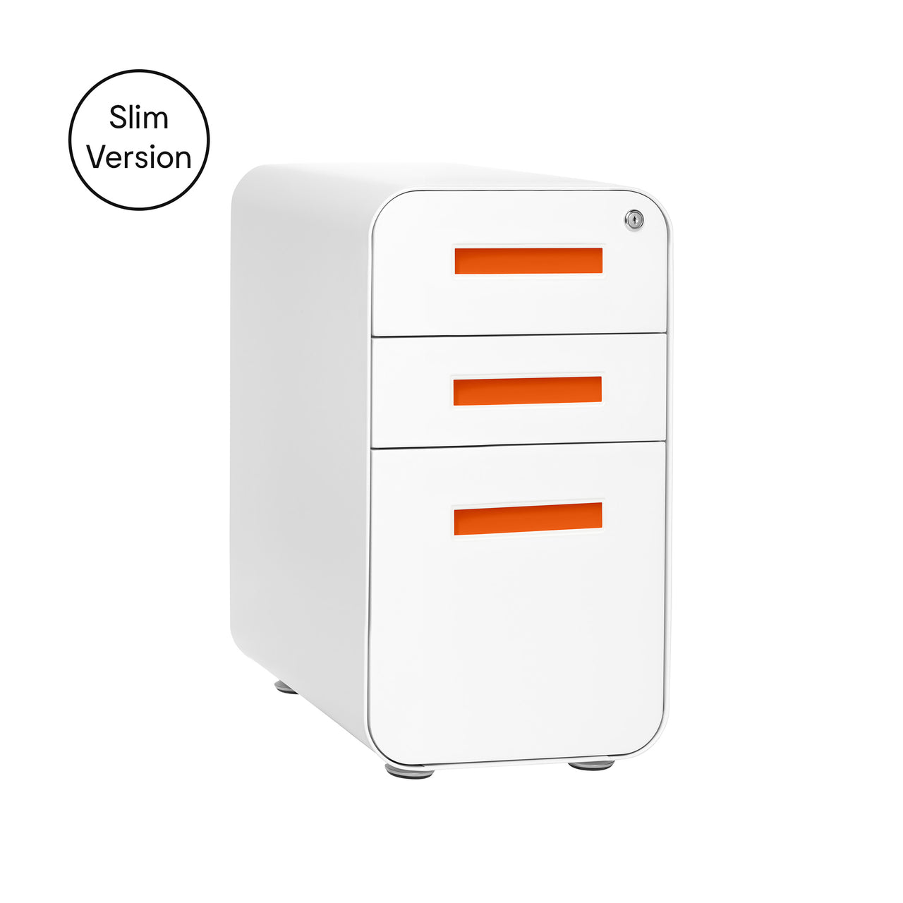 Stockpile Slim File Cabinet (White/Orange)