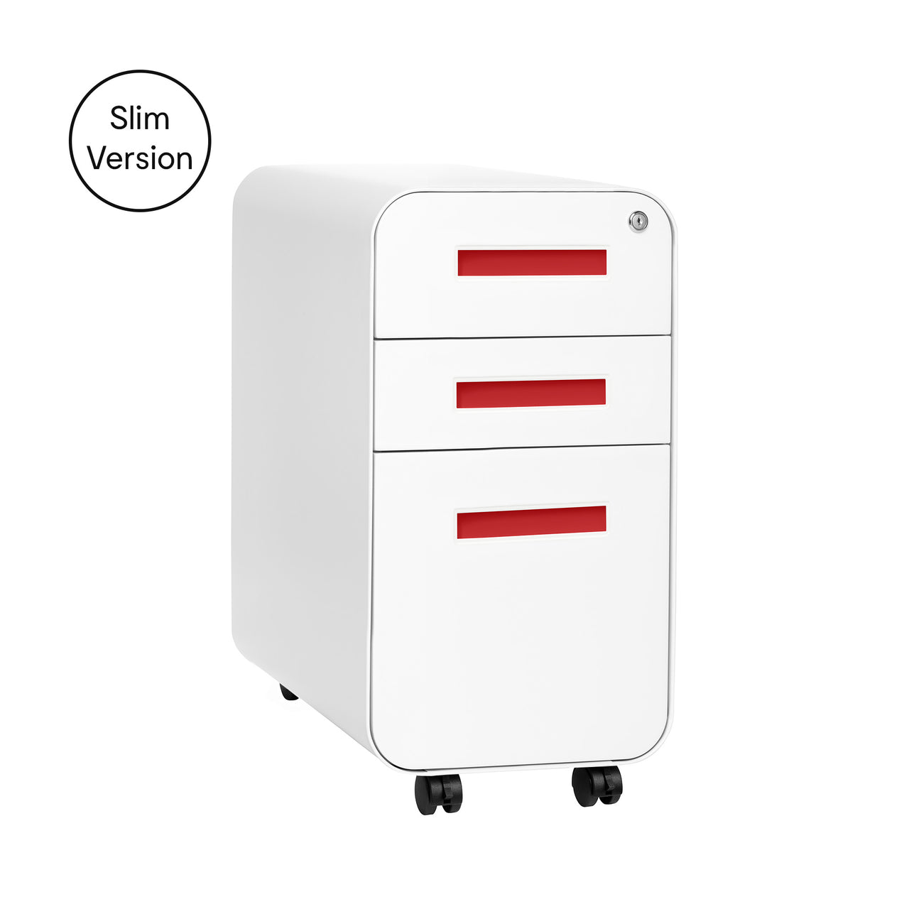 Stockpile Slim File Cabinet (White/Red)