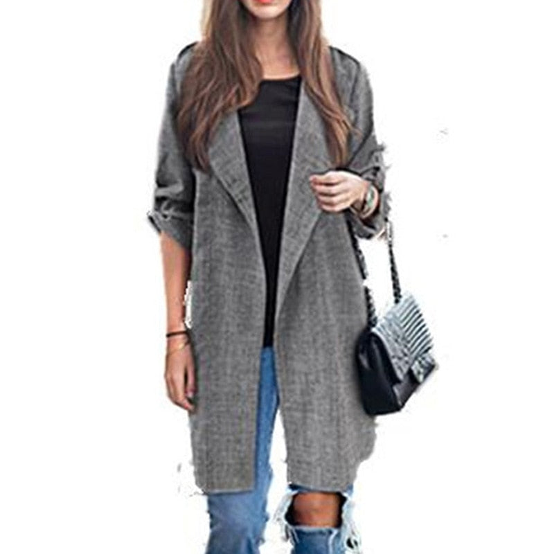 81ab3cd886a7ee Autumn-Spring-Outwear-Coat-Women-Long-Sleeve-Fit-Work-Ladies-Trench-Coat-Casual-Turn-down-Collar.jpg? v=1549546832