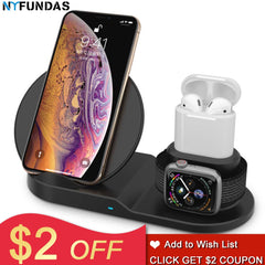 NYFundas draadloze oplader Qi fast charging stand houder voor Apple horloge 2 3 4 iphone XS MAX XR 8 plus X iwatch airpods inductie