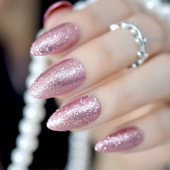 Pack 24 Amandel Vorm Valse Nagels Rose Gold Sharp Kunstmatige Nail Art Tips Volledige Glitter Shimmer Nagel in verschillende maten