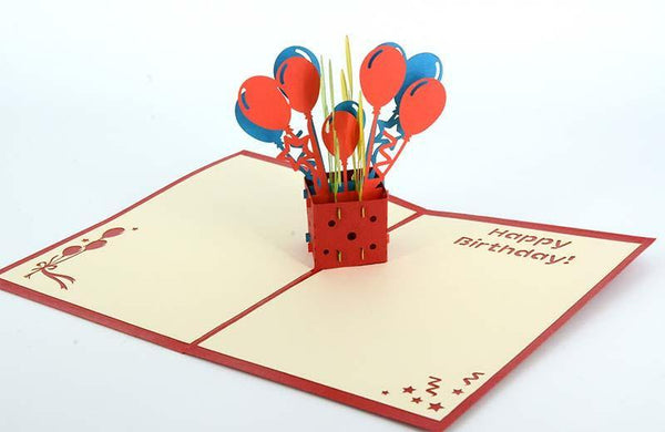Balloons in box Happy birthday - Henry Pop-Up Cards
