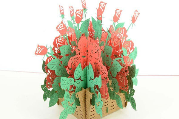 Basket of Roses 3D - Henry Pop-Up Cards