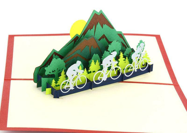 Bikes on mountain road - Henry Pop-Up Cards