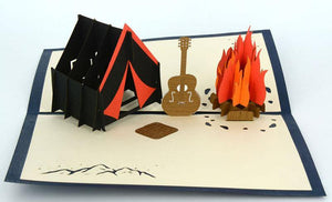 Camp Fire and Guitar - Henry Pop-Up Cards