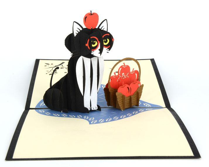 Cat and Apples - Henry Pop-Up Cards