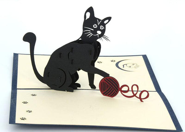 Cat and ball of knitting wood - Henry Pop-Up Cards