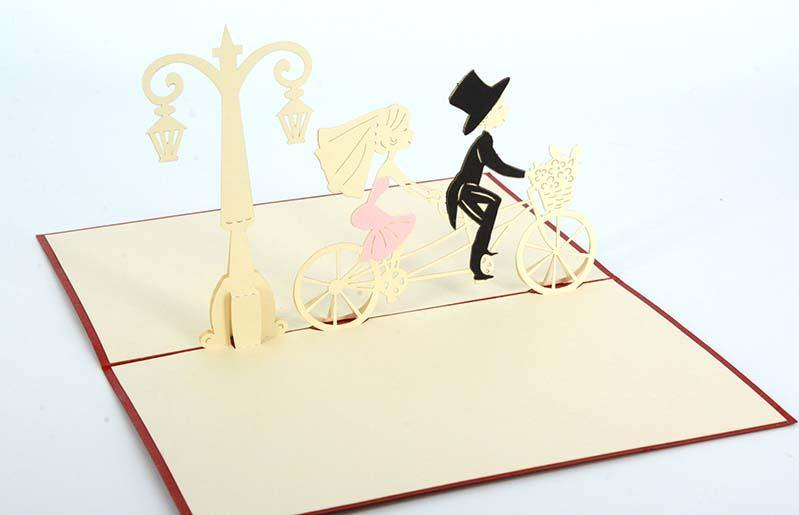 Couple on Double Bike1 - Henry Pop-Up Cards