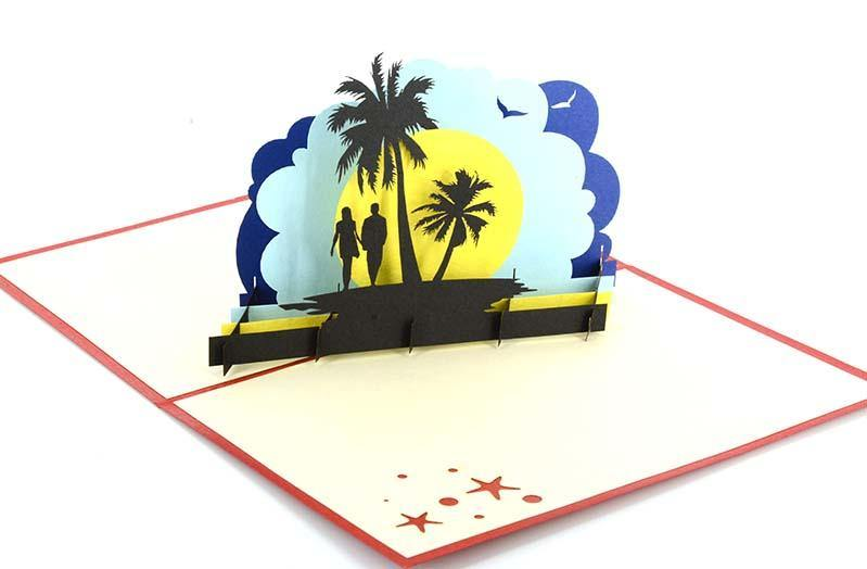 Couple under Palm Trees - Henry Pop-Up Cards