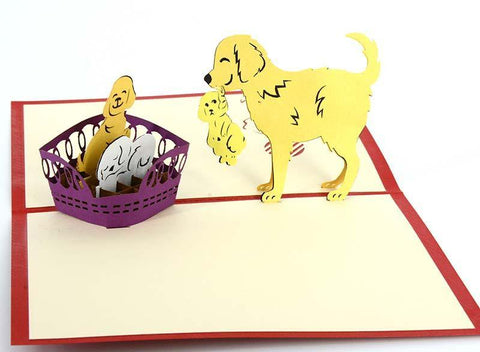 Dog and 3 Pups - Henry Pop-Up Cards