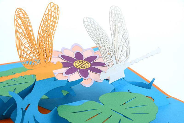 Dragonflies on Lotus - Henry Pop-Up Cards