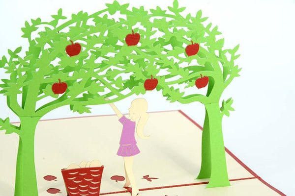 Girl Under Apple Tree - Red - Henry Pop-Up Cards
