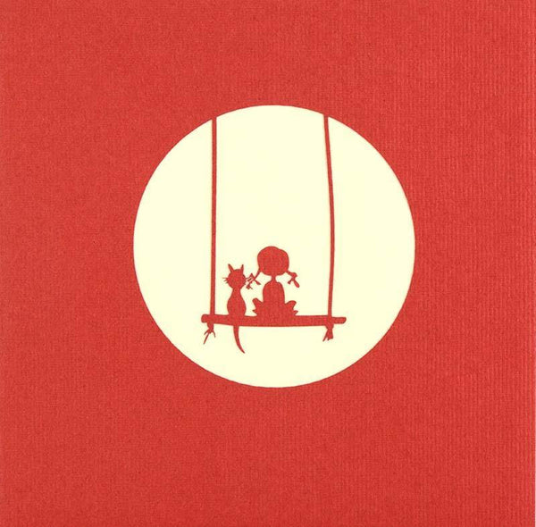 Girl on Swing with Cat - Henry Pop-Up Cards