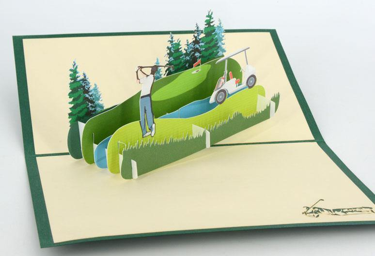 Golf Teeing Off - Henry Pop-Up Cards