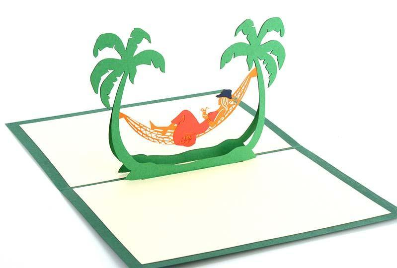 Hammock under palm trees - Henry Pop-Up Cards