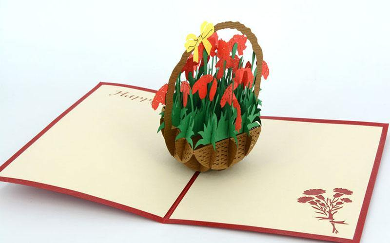 Birthday Basket of Carnations - Henry Pop-Up Cards