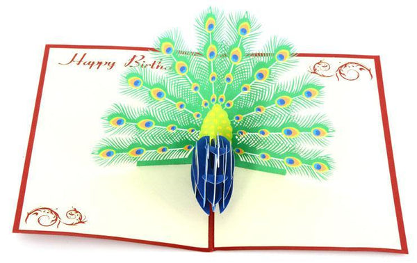 Happy Birthday Peacock - Henry Pop-Up Cards