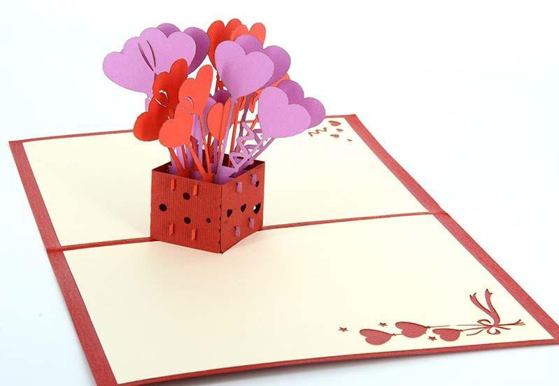 Love Heart balloons box - Henry Pop-Up Cards