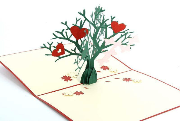 Love Hearts on tree - Henry Pop-Up Cards