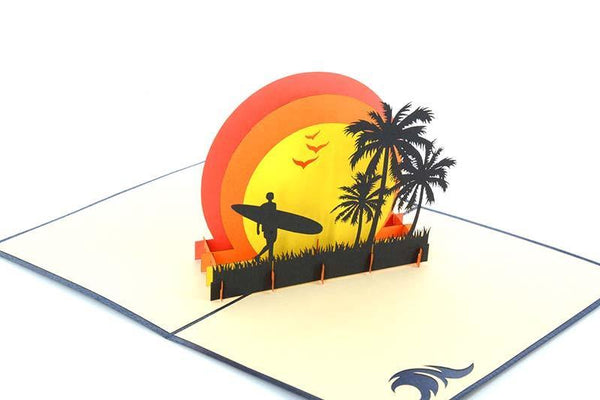 Men carrying surfing board - Henry Pop-Up Cards