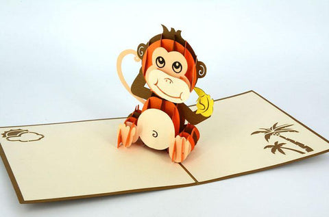 Monkey eating banana 3D - Henry Pop-Up Cards