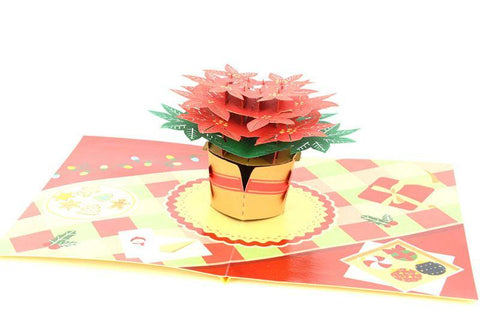 Christmas Poinsettia Flower - Henry Pop-Up Cards